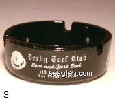 Derby Turf Club, Race and Sports Book, 113 So. First St., Las Vegas, Nevada - White imprint Glass Ashtray