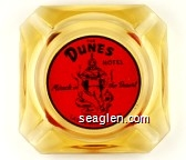 The Dunes Hotel, Miracle in the Desert, Las Vegas, Nevada - Black on red imprint Glass Ashtray