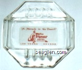 ''A Miracle in the Desert'', The Dunes Hotel, Las Vegas Nevada - Red on white imprint Glass Ashtray