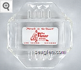 ''Miracle in the Desert'', The Dunes Hotel, Las Vegas Nevada - Red on white imprint Glass Ashtray