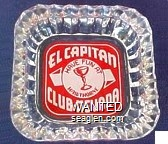El Capitan Club - Nevada, Have Fun At Hawthorne - White on red imprint Glass Ashtray