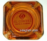Downtown 6th & Fremont St., El Cortez Hotel & Casino, Las Vegas, Nevada - Red on white imprint Glass Ashtray