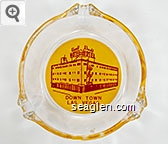 Hotel Elwell, Down Town, Las Vegas - Red on yellow imprint Glass Ashtray