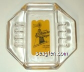 Hotel El Rancho Vegas, Look For The Wind Mill, Las Vegas, Nevada - Blue on yellow imprint Glass Ashtray