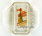 Hotel El Rancho Vegas, Look For The Wind Mill, Las Vegas Nevada - Multicolor imprint Glass Ashtray