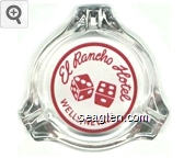 El Rancho Hotel, Wells, Nevada - Red on white imprint Glass Ashtray