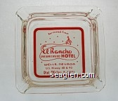 Borrowed From El Rancho Cafe Bar Casino Hotel, Wells Nevada, U.S. Hiway 40 & 93, Dial Skyline 2-3371 - Red on white imprint Glass Ashtray