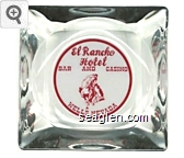 El Rancho Hotel, Bar and Casino, Wells, Nevada - Red on white imprint Glass Ashtray