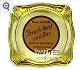 Phone SU 2-2042, French Hotel and Bar, R.B. and B.B. Borda, Gardnerville, Nevada - Brown on white imprint Glass Ashtray