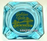 Golden Gate Casino, No. 1 Fremont St., Downtown, Las Vegas, Nevada - Yellow on blue imprint Glass Ashtray