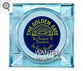 The Golden Gate, No. 1 Fremont St., Downtown Las Vegas, Nevada - Yellow on blue imprint Glass Ashtray