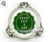 Open All Night, Grand Cafe & Bar, 30-33 East 2nd St, Reno Nevada - Green on white imprint Glass Ashtray