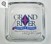 Grand River Casino & Resort, Where the Prairie Meets the Water - Black, blue and purple imprint Glass Ashtray
