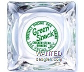 Cocktails, Phone 464, Gaming, Green Shack, Chicken - Steak Dinners, Las Vegas, Nev. - Green imprint Glass Ashtray