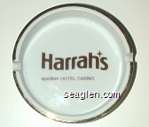 Harrah's Marina Hotel Casino - Brown imprint Porcelain Ashtray