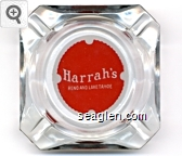 Harrah's, Reno and Lake Tahoe - Red on white imprint Glass Ashtray