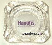 Harrah's, Casino Hotels - Purple on white imprint Glass Ashtray