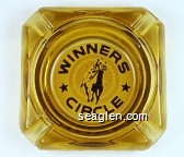 Winners Circle - Brown on white imprint Glass Ashtray