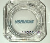 Harveys, Resort Hotel/Casino - Lake Tahoe - Blue imprint Glass Ashtray