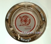 Harvey's Lake Tahoe, Resort Hotel and Inn - Red and white imprint Glass Ashtray