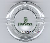 Harveys Wagon Wheel Hotel Casino - Green imprint Glass Ashtray