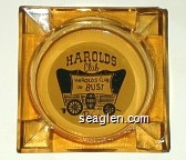 Harolds Club, Reno, Harolds Club or Bust, Reno - Black on white imprint Glass Ashtray