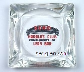 Reno, Biggest Little City in the World,  Harold's Club, Compliments of Leo's Bar - Red and black imprint Glass Ashtray