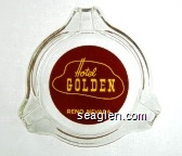 Hotel Golden, Reno Nevada - Yellow on brown imprint Glass Ashtray