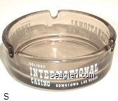 Holiday International Casino, Downtown Las Vegas - White imprint Glass Ashtray