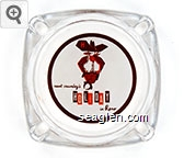 newt crumley's HOLIDAY in Reno - Orange and brown imprint Glass Ashtray