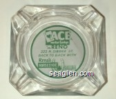 Ace Motor Lodge in Reno, 222 N. Sierra St. Back to Back With Reno's Horseshoe Club - Green on white imprint Glass Ashtray