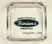 Downtown Las Vegas Since 1951, Binion's, Gambling Hall & Hotel - Black imprint Glass Ashtray