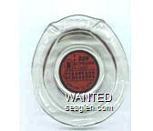 Good Luck, I Saw $1,000,000 in cash! At Binion's Horseshoe, Downtown Las Vegas - Black on red imprint Glass Ashtray