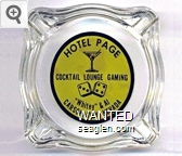 Hotel Page, Cocktail Lounge Gaming, ''Whitey'' & Al, Carson City, Nevada - Black on yellow imprint Glass Ashtray