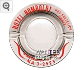 Hotel Humboldt, Gus Knezevich Owner, Winnemucca, Nevada, MA 3-2525 - Red imprint Glass Ashtray