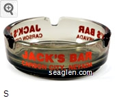 Jack's Bar, Carson City, Nevada - Orange imprint Glass Ashtray