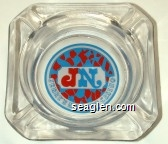 JN Jerry's Nugget Casino - Red and blue on white imprint Glass Ashtray