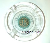 Jerry's Nugget Casino, JN, Las Vegas Blvd. North & Main - Green and gold on white imprint Glass Ashtray
