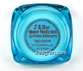 J. T. Bar, Basque Family Style Lunches & Dinners, 782-2074, Gardnerville, Nevada - Red on white imprint Glass Ashtray