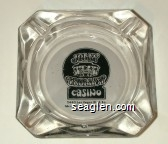 Jolly Trolley Casino, 2440 Las Vegas Blvd. So. (Across from Sahara Hotel), 385-3168 - Black on white imprint Glass Ashtray