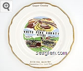 Copper Country, Liberty Pit Ruth, White Pine County, Nevada, Concentrator McGill, Smelter McGill, McGill Club, McGill Nev., Commercial Club, Ruth, Nev. - Multicolor imprint Porcelain Ashtray