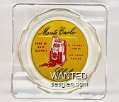 Monte Carlo Club, Home of More Jackpots, 15 Fremont Street, Las Vegas, Nevada - Black and red on yellow imprint Glass Ashtray