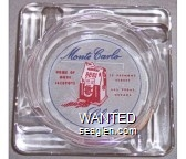 Monte Carlo Club, Home of More Jackpots, 15 Fremont Street, Las Vegas, Nevada - Blue and red on white imprint Glass Ashtray