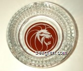 (Lion Logo) - Red and white imprint Glass Ashtray