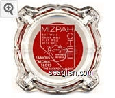 Mizpahotel, Eat Well, Drink Well, Play Well, Rest Well, the Bright Spot of Tonopah Nevada, Famous ''Atomic'' Slots, ''The Jackpot Fallout is Terrific'' - White on red imprint Glass Ashtray