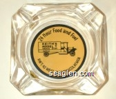 24 Hour Food and Fuel, Keith's Model T Truck Stop, Hwy. 40 West, Winnemucca, Nevada - Black on yellow imprint Glass Ashtray