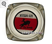 Mustang Club, Ely, Nevada - Black and red on white imprint Glass Ashtray