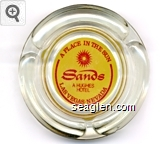 Sands, A Place in the Sun, A Hughes Hotel, Las Vegas Nevada - Red on yellow imprint Glass Ashtray