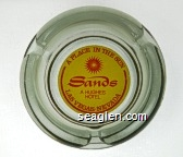 Sands, A Place in the Sun, A Hughes Hotel, Las Vegas . Nevada - Red on yellow imprint Glass Ashtray