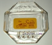 The Sands Hotel, Las Vegas, Nevada - Brown on yellow imprint Glass Ashtray